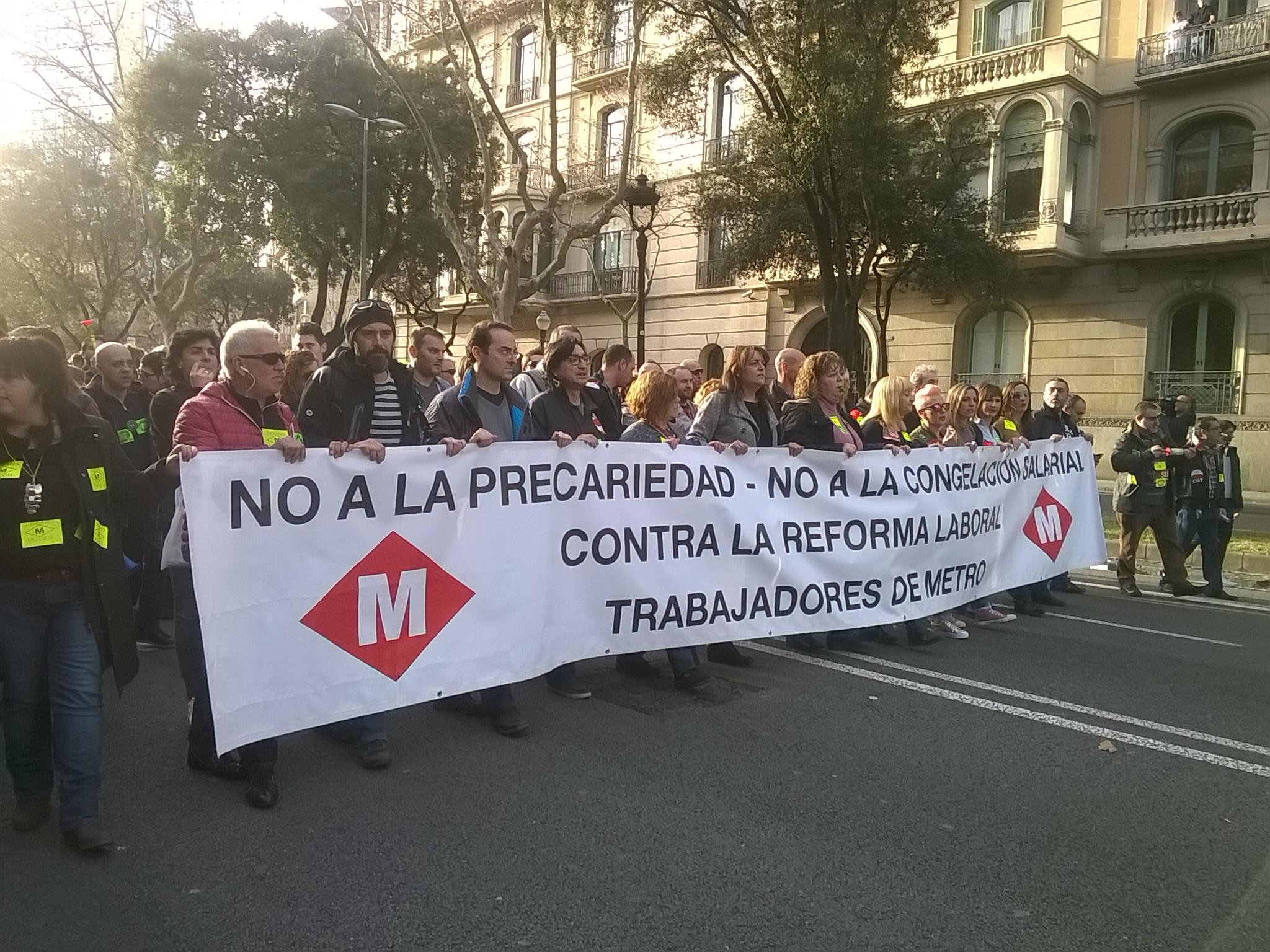 Manifestació de les treballadores del Metro de Barcelona el 22 de febrer